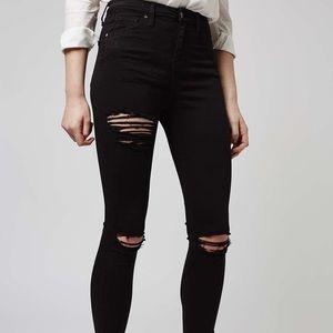 TopShop Jamie Moto Distressed Black Skinny Jeans